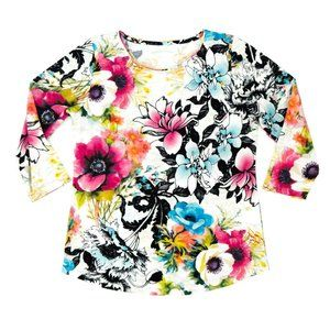 Allison Daley Women's Top Shirt Floral White Small